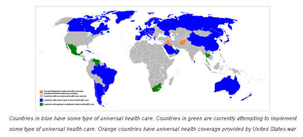 map of countries with universal healthcare