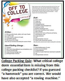 Freshman Year College 1,375-Item Bare Essentials Packing Checklist