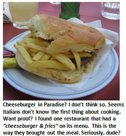 Italy vacation - cheeseburger