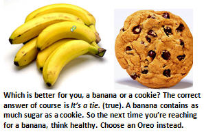bad food - banana and cookie