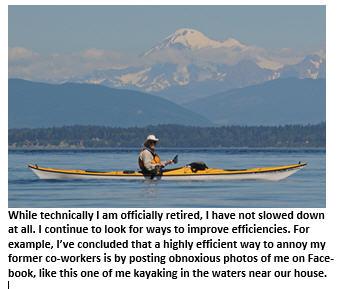 weekly report - retirement - kayaking