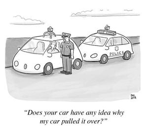 self-driving car - cartoon