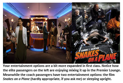 first class vs coach - entertainment