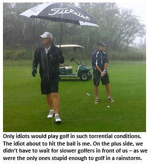 swingin in the rain - two golfers