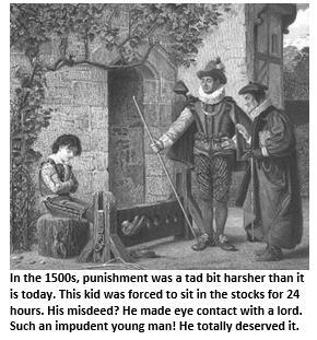 Discipline - boy in stocks