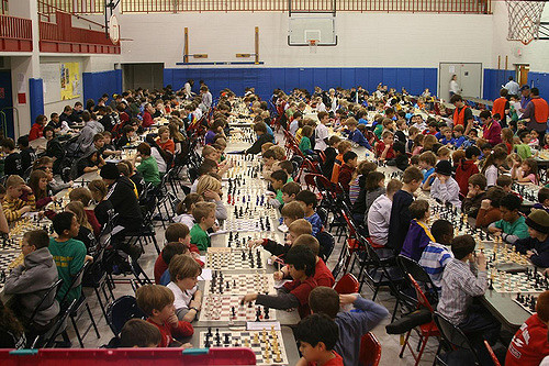 This is the scene at the chess tournament I enrolled our girls in when they were in elementary school. What a wonderful way for a parent to kill 10 hours on a Saturday, that is, if you find watching bowling a little too exciting.